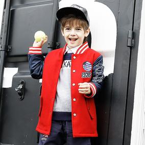 咔酷德童装男童外套秋冬款2018新款儿童棒球服中大童加厚冬装上衣