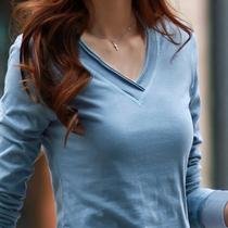 2018秋装新款韩版修身V领纯棉上衣大码显瘦长袖T恤打底衫女装体恤