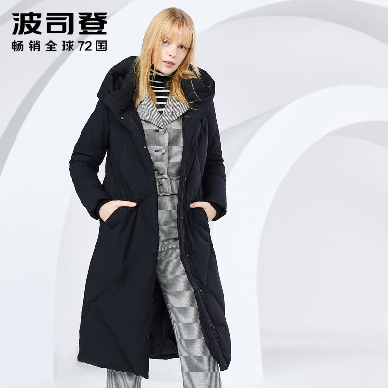 波司登羽绒服女长款过膝冬季新款连帽欧美时尚鹅绒外套B80141162