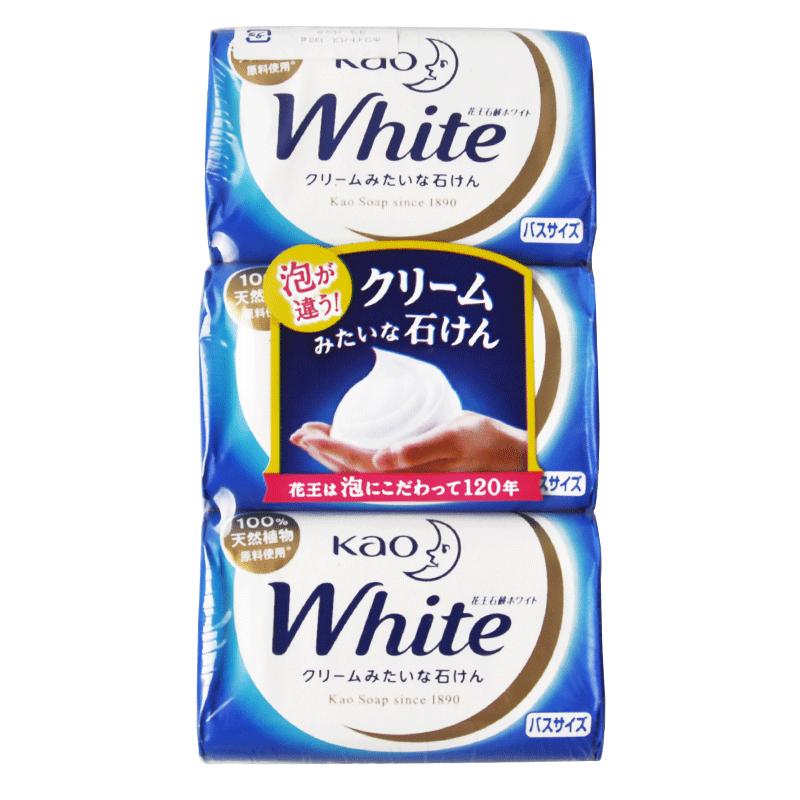 进口花王香皂 奶香型沐浴洁面皂white cosme大赏香皂 130g*3块装