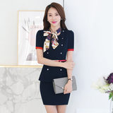 Summer wear skirt suit female professional tooling female flight attendants wear overalls beautician beauty salon