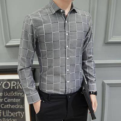 男士长袖商务休闲格子衬衫大码韩版修身格纹职业办公工装衬衣寸衫