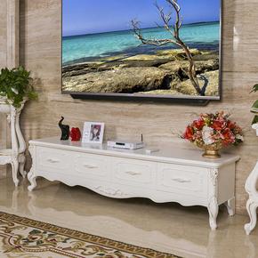 欧式电视柜茶几组合家具韩式白色小户型客厅液晶电视机柜实木地柜