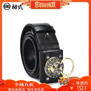 初弎中国风潮牌街头狮子头平滑扣腰带男青年圆扣学生皮带45021