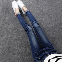 2018秋季新款韩版女装加长牛仔裤女长裤高个子弹力显瘦小脚铅笔裤