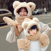 帽子围巾手套三件一体冬季韩版儿童女童加厚保暖双层冬天亲子套装