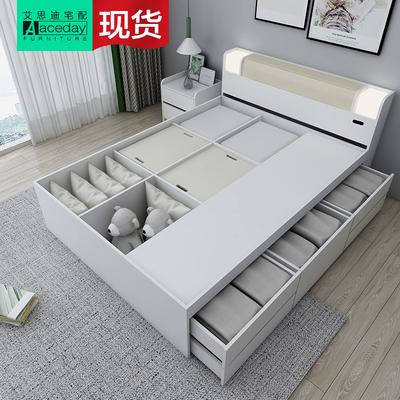 高箱气动收纳储物床1.5米1.8米双人床省空间现代简约多功能气压床