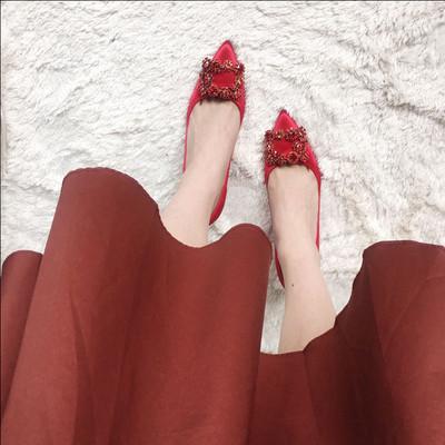 林心如同款结婚鞋子女2018新款红色高跟鞋婚鞋冬季水钻方扣rv女鞋