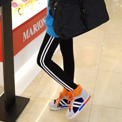 韩版大码修身显瘦运动休闲百搭双条杠外穿打底裤长裤女纯棉莫代尔