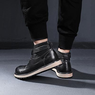 2018秋季新款大头真皮男靴子高帮工装靴潮流英伦中帮马丁靴男短靴
