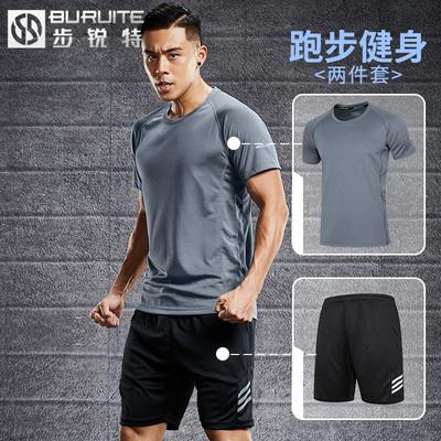 运动套装男夏季短袖两件速干跑步服健身房夏天户外训练运动衣服装