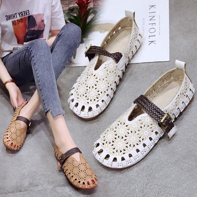 2018夏季新款韩版镂空透气豆豆鞋防滑平跟平底休闲舒适工作鞋女鞋