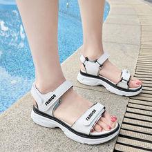 女士沙滩鞋 魔术贴舒适新款 女韩版 中跟松糕鞋 时尚 2019夏季运动凉鞋