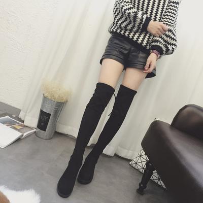 2018过膝靴女春季新款韩版长筒靴女靴子加绒百搭粗跟高筒靴女鞋子