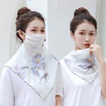 夏季薄款多功能防晒口罩丝巾护颈披肩女围脖套遮阳超大防晒面纱