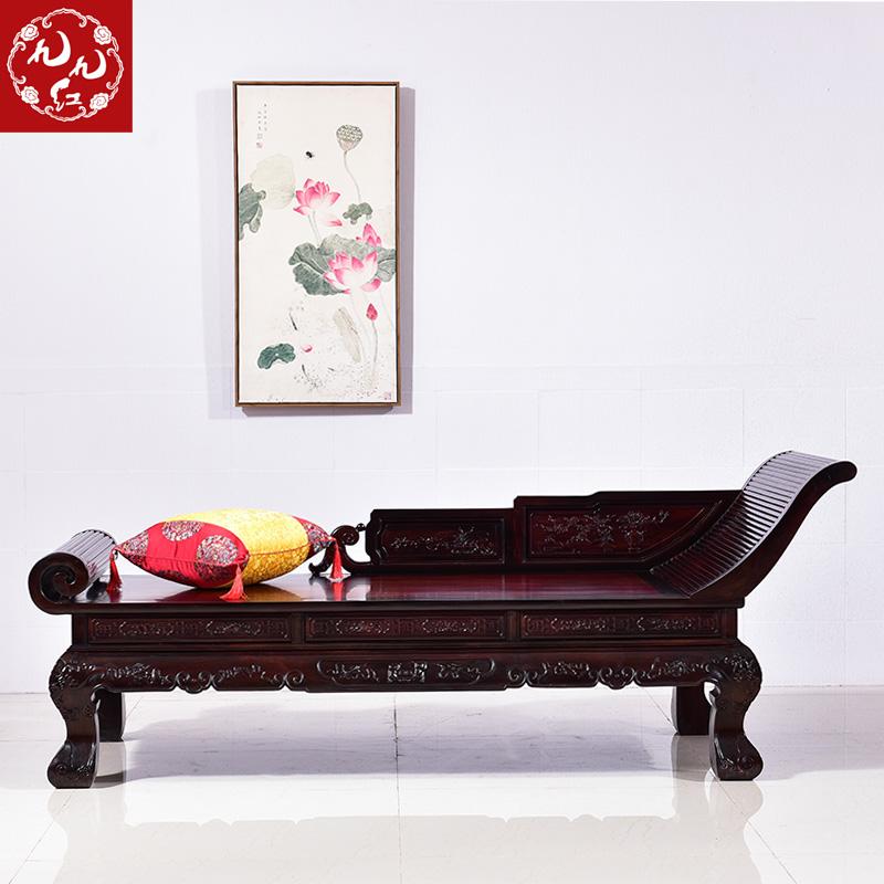 红木家具 大红酸枝木贵妃床 全实木美人塌 古典贵妃椅 新中式床榻