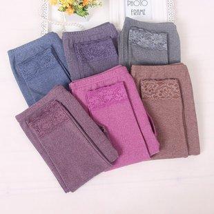 女士FTY棉单件秋裤保暖裤带护膝加厚加大加肥打底裤贴身线裤衬裤