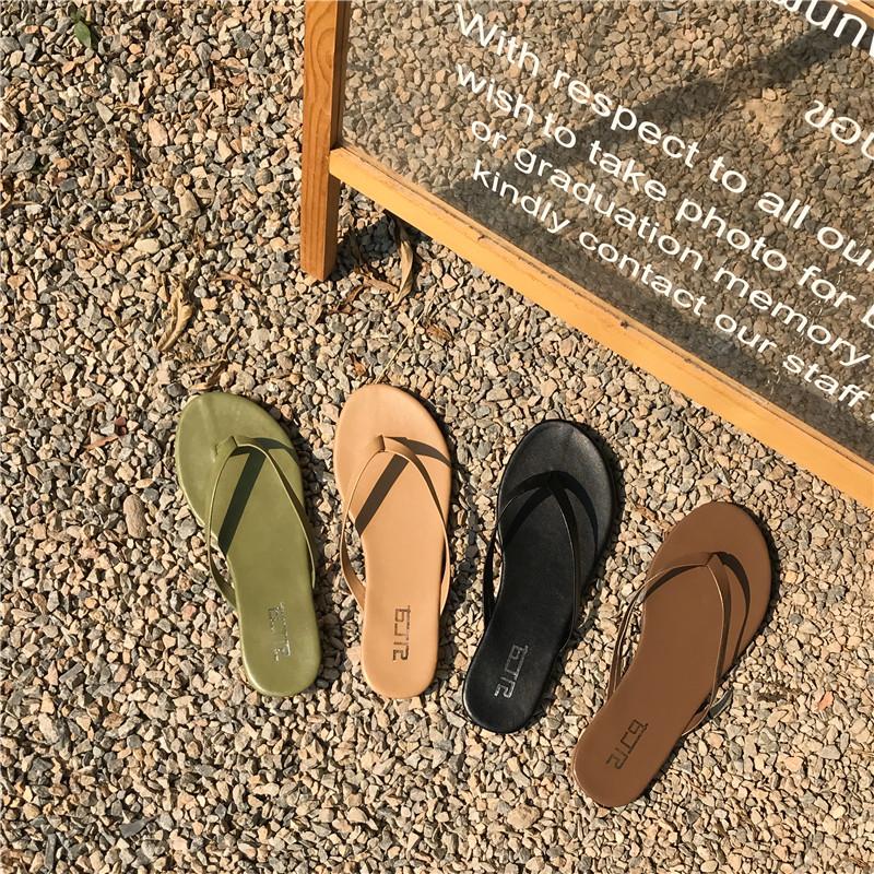 19夏季时尚百搭糖果色纯色PU皮平底人字拖女度假沙滩夹脚拖鞋学生