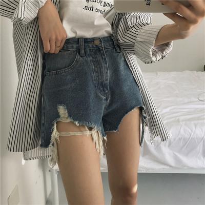 复古韩国chic风宽松显瘦百搭磨破洗水牛仔短裤女学生夏季高腰热裤