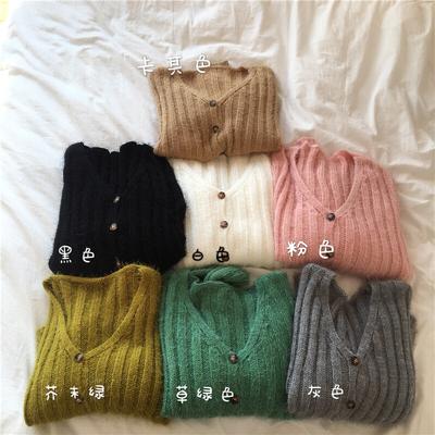 韩版秋季新款马卡龙色百搭V领显瘦毛毛针织排扣开衫外套毛衣女装