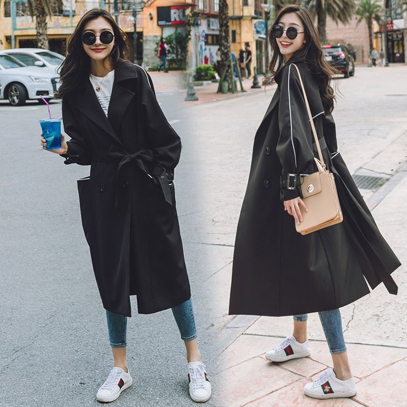 2018 spring and autumn coat ladies Hong Kong flavor chic tie windbreaker long section