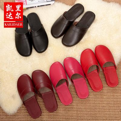 羊皮棉拖鞋 海宁男女居家防滑保暖家居木地板真皮拖鞋 秋冬季款