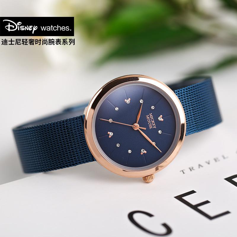 迪士尼2018新款手表女学生韩版简约森女系手表小表盘清新石英水钻