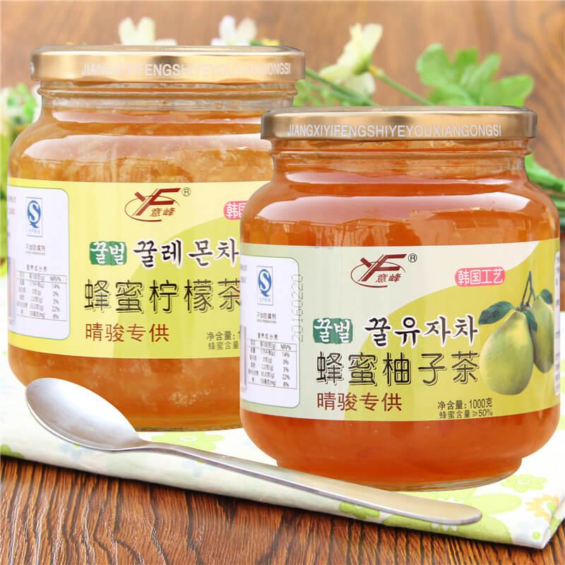 送钢勺意峰蜂蜜柚子茶1000g+柠檬茶1000g冲泡水喝的饮品花果茶