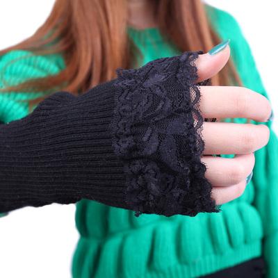 蕾丝手臂套保暖袖套女秋冬长款半指手套针织加厚保暖羊毛线假袖子