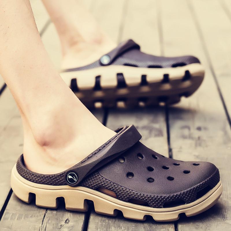 男士拖鞋男夏季室外穿洞洞鞋潮流韩版2019新款个性沙滩鞋男凉鞋男
