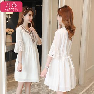 韩版孕妇V领夏天短袖连衣裙2019新款白色显瘦上衣宽松系带孕妇裙