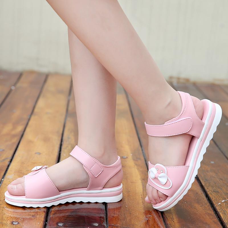 夏季女童平底凉鞋3-12岁中大童凉鞋舒适软底防滑鞋女童新款凉鞋潮