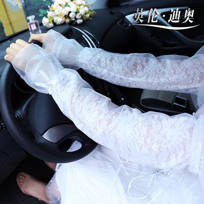 夏季开车防晒袖子长款袖套蕾丝防晒手套护臂遮阳薄款露指冰丝袖女