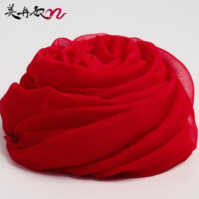 大红色丝巾长款女夏季纯色超大防晒纱巾秋冬季中国红围巾沙滩披肩