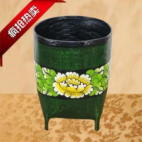 中式古典垃圾桶家用纸筒客厅卧室创意无盖彩绘泰式田园纸篓办公室