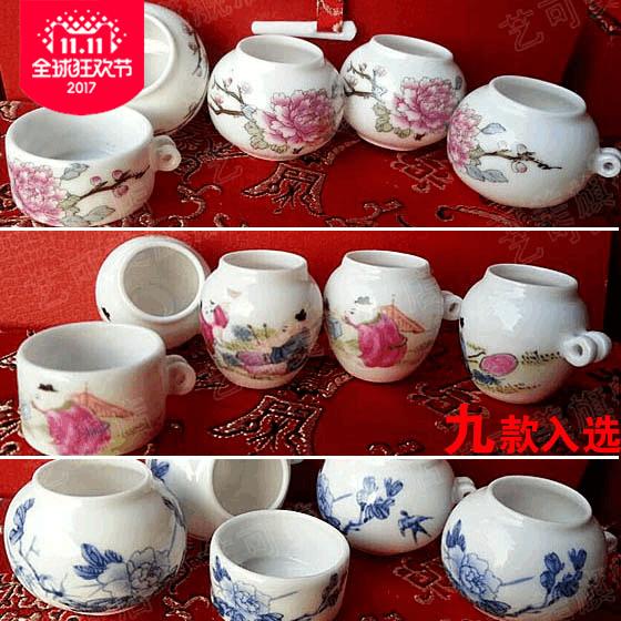 包邮鸟食罐 红子罐竹鸟笼杯景德镇陶瓷领鸟杯虫杯鸟食缸可配礼盒