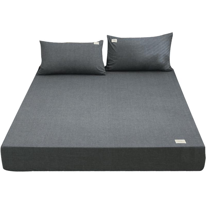日式纯棉床笠单件床罩水洗棉床套罩全棉床单纯色定做席梦思保护套