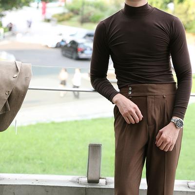 秋冬保暖半高领弹力百搭针织衫男士韩版青年舒适T恤英伦绅士毛衣