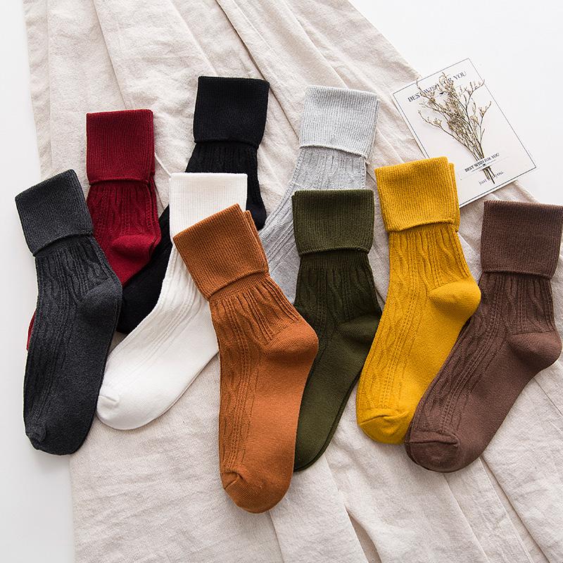 【先领券】堆堆袜子女韩国长中筒袜春秋冬款韩版学院风日系文艺纯棉高腰保暖