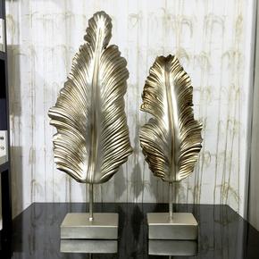 欧式美式复古创意家居芭蕉叶摆件树脂装饰客厅电视柜办公室工艺品