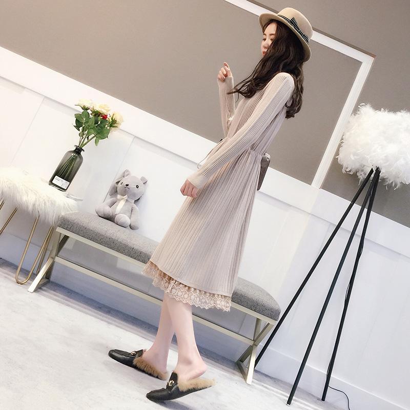 蕾丝毛衣裙女套头韩版半高领连衣裙中长款过膝打底衫加厚秋冬新款