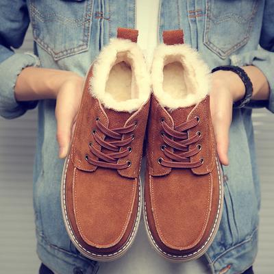 羊皮毛一体男鞋雪地靴男冬季保暖加绒马丁靴短靴真皮男士面包棉鞋