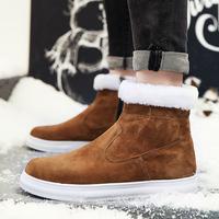 飞力步2017冬季新款英伦靴潮流男士百搭雪地靴保暖短靴男高帮棉鞋