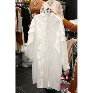 韩版2019春秋新品立领泡泡长袖中长款衬衫裙蕾丝拼接衬衣女送腰带