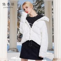 羽绒服女2018新款白色短款时尚红色欧货冬款羽绒品牌羽绒服小款