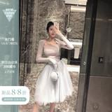 金金酷酷哒超仙白色蓬蓬纱裙高腰网纱裙子仙女中长款半身裙女夏