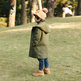 Aisina children's clothing boy early autumn woolen coat in the long section 2019 new autumn hooded baby woolen coat