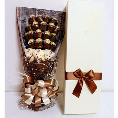 21颗费列罗巧克力小熊花束礼盒情人节送女友老婆生日礼物全国包邮
