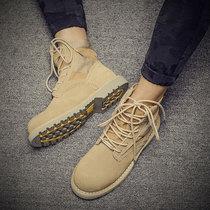 冬季加绒马丁靴男潮短靴真皮英伦风高帮鞋男靴子韩版中帮保暖棉鞋