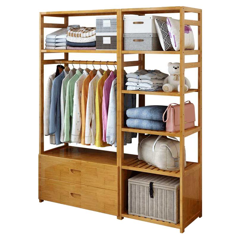 防尘简易衣柜简约现代经济型组合衣帽架家用多功能带抽屉储物衣柜